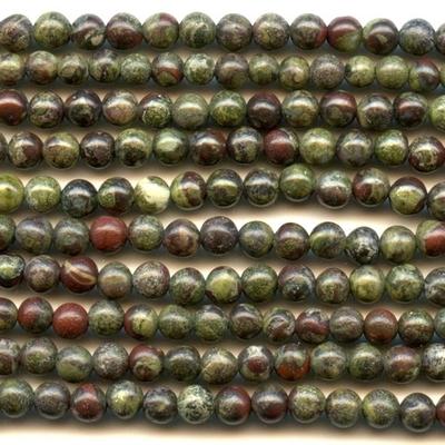 4mm Round Dragon Blood Jasper Stone Bead - Dark Green with Red | Natural Semiprecious Gemstone