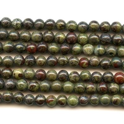 6mm Round Dragon Blood Jasper Stone Bead - Dark Green with Red | Natural Semiprecious Gemstone