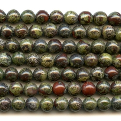 8mm Round Dragon Blood Jasper Stone Bead - Dark Green with Red | Natural Semiprecious Gemstone