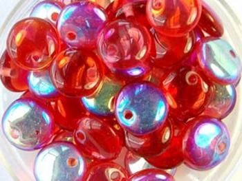 Czech Pressed Glass 6mm Lentil Bead - Cranberry - Transparent Iridescent Finish | Harlequin Beads and Jewelry