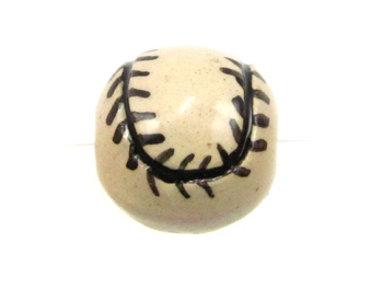 13mm Large Baseball Hand-painted Clay Bead | Natural Beads