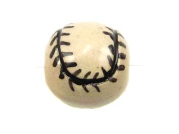 11mm Medium Baseball Hand-painted Clay Bead | Natural Beads