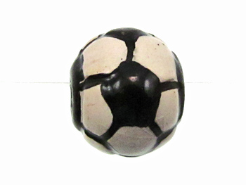 11mm Medium Soccer Ball Hand-painted Clay Bead | Natural Beads
