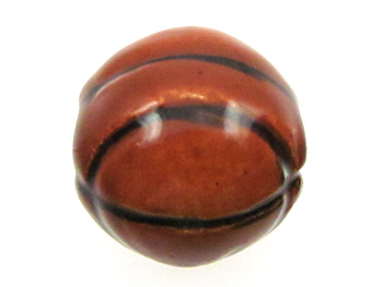 13mm Large Basketball Hand-painted Clay Bead | Natural Beads