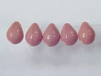 Czech Pressed Glass 6 x 9mm Teardrop Bead - Pink - Opaque Finish | Harlequin Beads and Jewelry