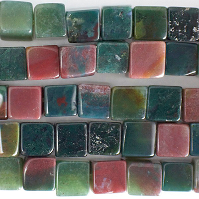 6mm Cube Fancy Jasper Stone Bead - Mixed Colors | Natural Semiprecious Gemstone