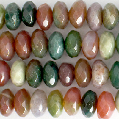 8mm Faceted Rondell Fancy Jasper Stone Bead - Mixed Colors | Natural Semiprecious Gemstone