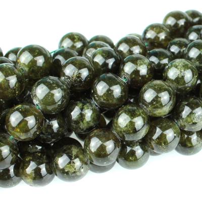 10mm Round Green Garnet Stone Beads