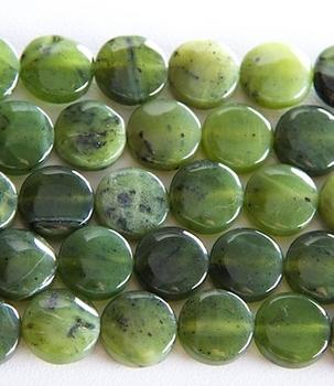 12mm Coin Jade Stone Bead - Deep Green | Natural Semiprecious Gemstone | Harlequin Beads and Jewelry
