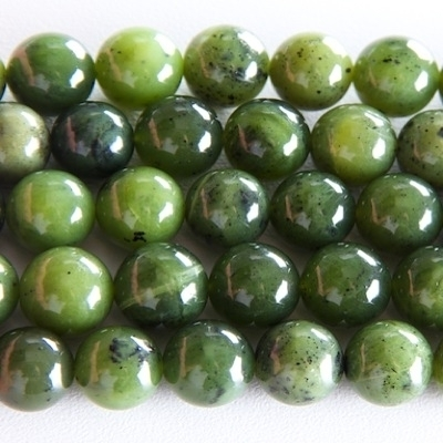 8mm Round Jade Stone Bead - Deep Green | Natural Semiprecious Gemstone