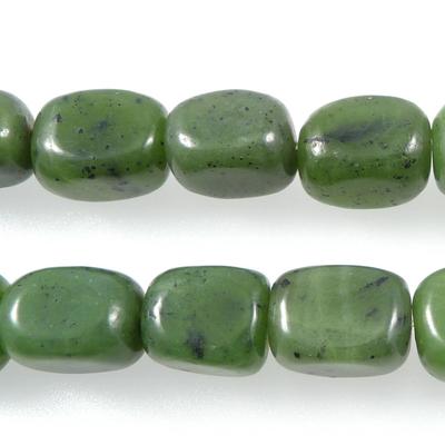 8 x 10mm Tumbled Nugget Jade Stone Bead - Deep Green | Natural Semiprecious Gemstone