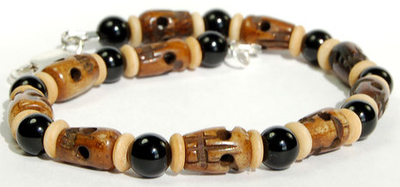 Hand-carved Bone Skull and Rondell Beads Bracelet with Black Onyx Agate | Jewelry Project Kit Custom Kits