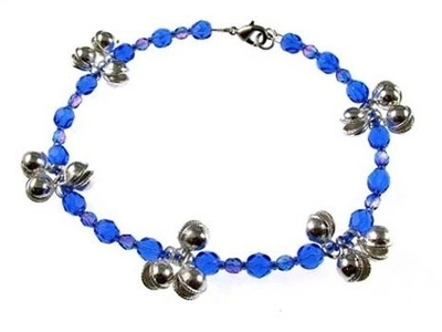Blue Czech Glass Beads and Silver Bells Anklet | Jewelry Project Kit Custom Kits