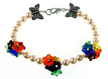 Pressed Glass Flower Bracelet with Butterfly Beads and Swarovski ...