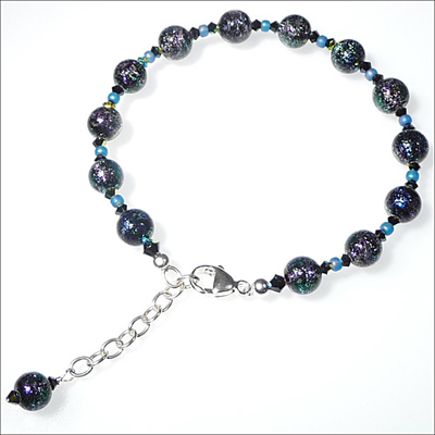 Czech Purple with Dichroic Lampwork Beads Bracelet with Swarovski Bicones | Jewelry Project Kit Custom Kits