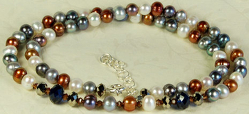 Sand, Ice Pearl and Crystal Necklace | Jewelry Design Ideas