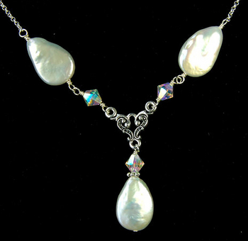 Aurora Borealis Pearl Wedding Necklace | Jewelry Design Ideas