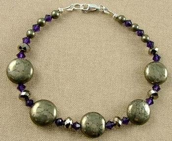 Pyrite and Swarovski Purple Crystal Beads Bracelet | Jewelry Project Kit Custom Kits
