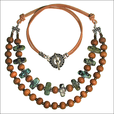 Desert Chic Matte African Turquoise and Indian Wood Necklace | Jewelry Design Ideas
