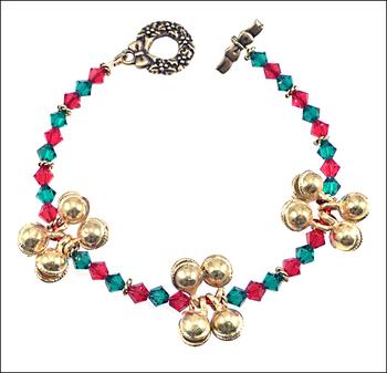 Jingle Jangle Christmas Bells Bracelet with Swarovski Bicones and TierraCast Wreath Clasp | Jewelry Project Kit Custom Kits
