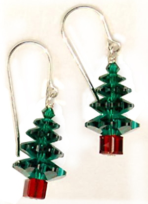 Large Emerald Swarovski Christmas Tree Holiday Earrings | Jewelry Project Kit Custom Kits