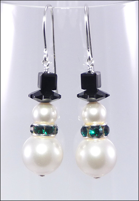 Frost And Green Swarovski Pearl Snowman Earrings Diy Jewelry Making Project Kit