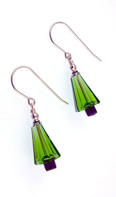 Art Deco Green Swarovski Christmas Tree Holiday Earrings | Jewelry Project Kit Custom Kits