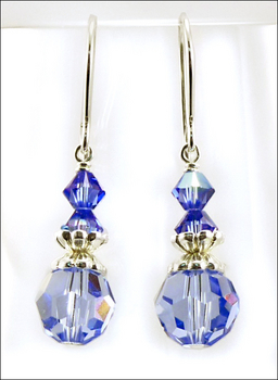 blue as can be earrings with sapphire swarovski crystal beads jewelry project kit custom kits - Earring Design Ideas