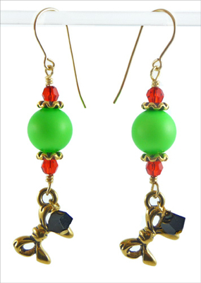 Funny Christmas Holiday Grinch Green Earrings With Swarovski Neon Pearls Jewelry Project Kit Custom Kits