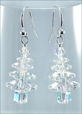 Wintry Crystal Swarovski Christmas Tree Earrings   DIY Jewelry-making Project Kit