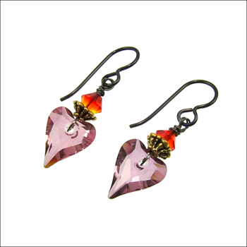 Milagro Wild Fire Sacred Heart Swarovski Earrings | Jewelry Design Ideas