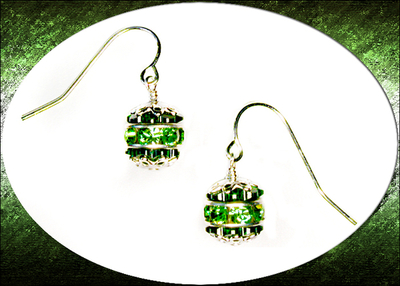 Crystal Ball Green Holiday Ornament Earrings with Swarovski Rhinestone Rondells | Jewelry Project Kit Custom Kits