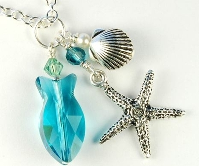 swarovski swimming fish necklace jewelry design ideas - Jewelry Design Ideas