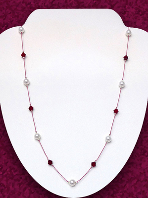 Floating Garnet And Pearl Necklace Jewelry Design Ideas