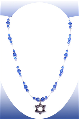 Hanukkah Blue Swarovski Crystal Illusion Necklace with Star of David Charm Pendant | Jewelry Project Kit Custom Kits