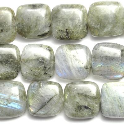 12mm Labradorite Square Beads - Grey - 8-inch String