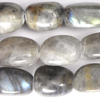 12 x 16mm Labradorite Nugget Beads - Grey - 8-inch String
