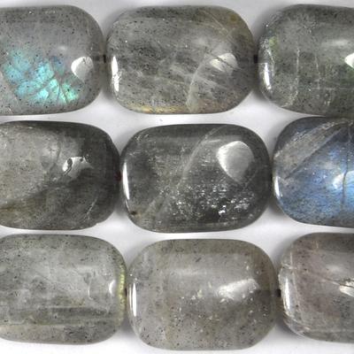13 x 18mm Labradorite Rectangle Beads - Grey - 8-inch String
