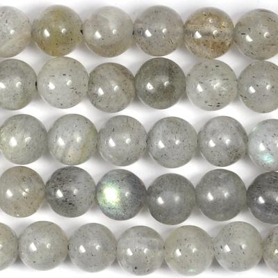 6mm Labradorite Round Beads - Grey - 8-inch String