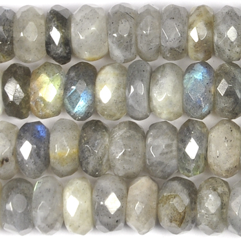 8mm Labradorite Faceted Rondell Beads - Grey - 8-inch String