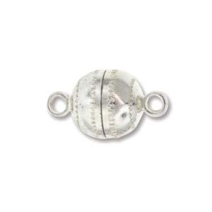 8x14mm Ball Shape Magnetic Clasp - Silver Finish - 12 Pack   Base Metal Jewelry Clasps   Findings