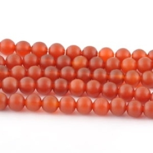 6mm Round Carnelian Agate Stone Bead - Deep Orange | Natural Semiprecious Gemstone