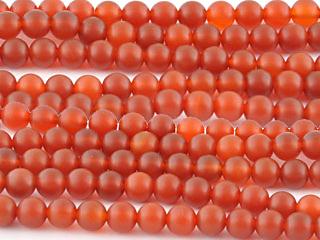 8mm Round Carnelian Agate Stone Bead - Deep Orange   Natural Semiprecious Gemstone