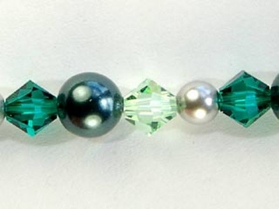 Swarovski Crystal 4mm, 5mm and 6mm Bicone and Round Pearl Bead Mix - Emerald Valley | Custom Multi-color Swarovski Bead Mixes by Harlequin Beads and Jewelry