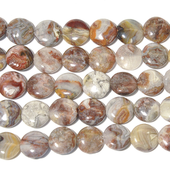 12mm Laguna Lace Agate Coin Beads - Swirly Brown, Grey and Red - 8-inch String