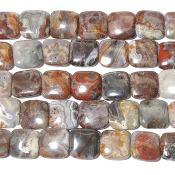 12mm Laguna Lace Agate Square Beads - Swirly Brown, Grey and Red - 8-inch String