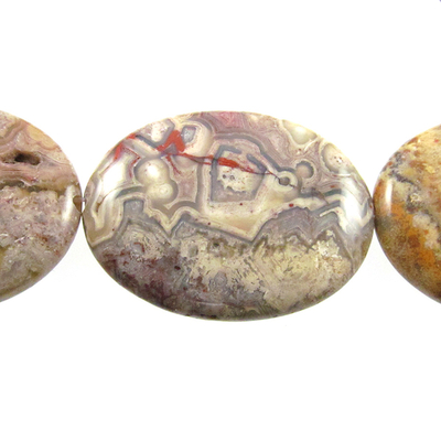 30 x 40mm Laguna Lace Agate Oval Beads - Swirly Brown, Grey and Red - 8-inch String