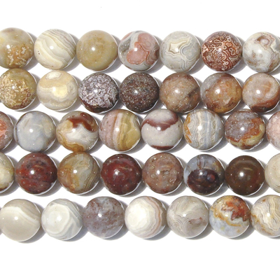 8mm Laguna Lace Agate Round Beads - Swirly Brown, Grey and Red - 8-inch String