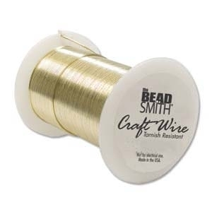 22 Gauge Round Gold Metal Craft Wire - Soft Non-Tarnish Copper Core - 20 Yards | Metal Wire for Wire-twisting and Wire-wrapping Jewelry and Crafts