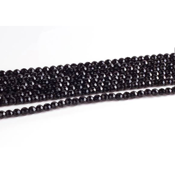 4mm Faceted Round Black Onyx Stone Beads   Natural Semiprecious Gemstone